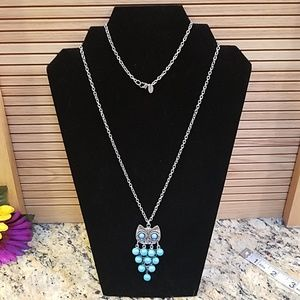 Claire's turquoise owl necklace long GUC